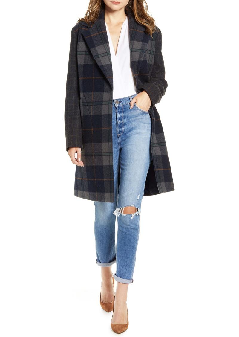 KENDALL + KYLIE Plaid Brushed Wool Coat