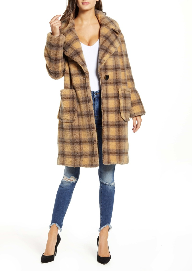 KENDALL + KYLIE Plaid Teddy Coat