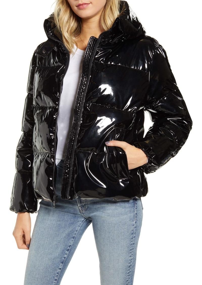 KENDALL + KYLIE Shiny Vinyl Puffer Coat