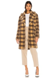 KENDALL + KYLIE Teddy Plaid Coat