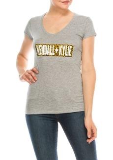 Kendall + Kylie V-Neck Cap Sleeve Tee