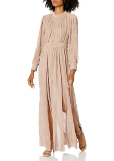 KENDALL + KYLIE Women's Button Up Crew Neck Maxi Dress with Slits