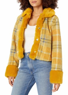 KENDALL + KYLIE Women's Cropped Mix Faux Fur Jacket