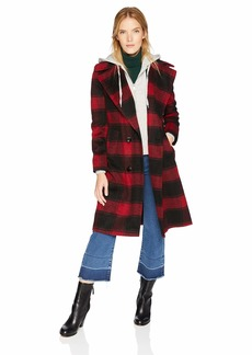 Kendall + Kylie Women's Double Breasted Wool Coat Black/red Plaid