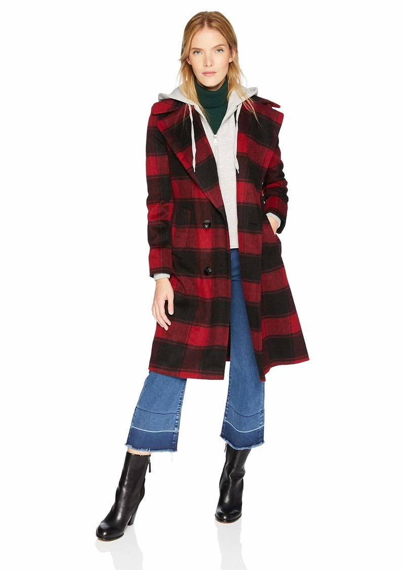 Kendall Kylie Womens Double Breasted Wool Coat