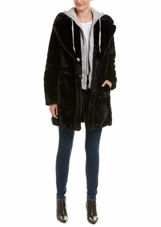 KENDALL + KYLIE Women's Faux Rabbit Fur Jacket