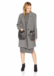 KENDALL + KYLIE Women's Hountstooth Wool Coat