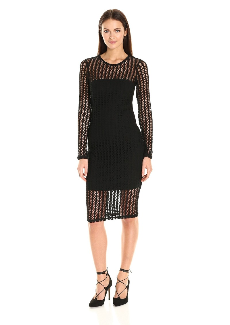 Kendall + Kylie Women's Lattice Jersey L/s Dress  S
