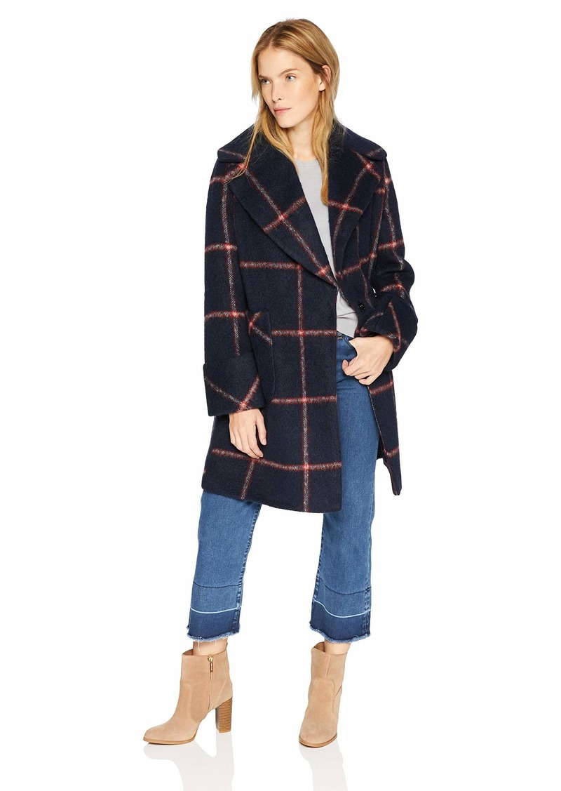KENDALL + KYLIE Women's Oversize Collar Wool Coat Navy/red Plaid