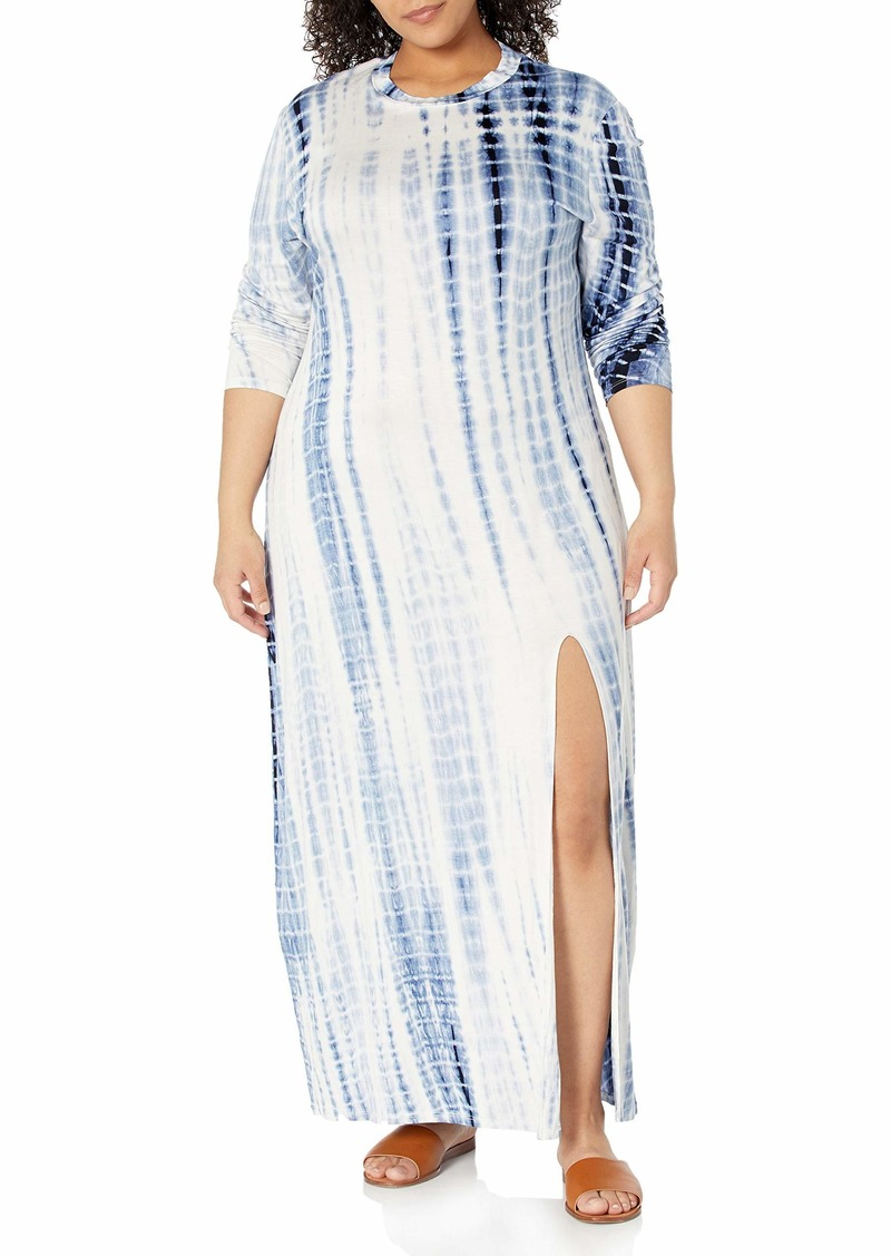 KENDALL + KYLIE Women's Plus Size Crewneck Maxi Dress with Front Slit French Navy/Blush