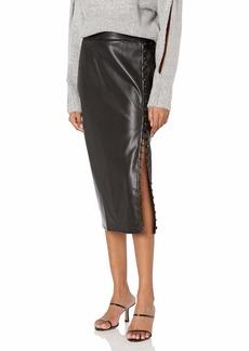 KENDALL + KYLIE Women's Vegan Leather Side Slit Pencil Skirt