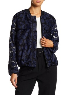 Kendall + Kylie Lace Knit Bomber Jacket