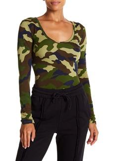 Kendall + Kylie Camo Print Long Sleeve Bodysuit