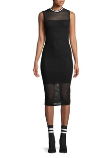 Kendall + Kylie Mesh Sleeveless Body-Con Midi Dress