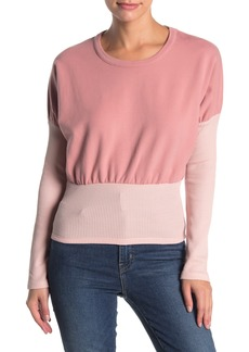 Kendall + Kylie Mixed Knit Dolman Sleeve Pullover