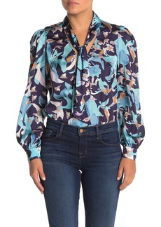 Kendall + Kylie Neck Tie Long Puff Sleeve Blouse