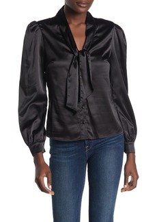 Kendall + Kylie Neck Tie Long Puff Sleeve Satin Blouse