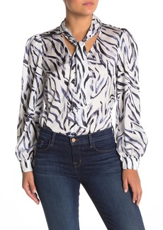 Kendall + Kylie Neck Tie Puff Sleeve Blouse