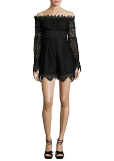 Kendall + Kylie Off-the-Shoulder Lace Romper