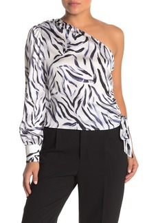 Kendall + Kylie One Shoulder Allover Print Blouse