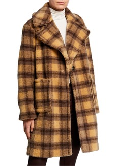 Kendall + Kylie Plaid Patch Pocket Faux-Fur Coat