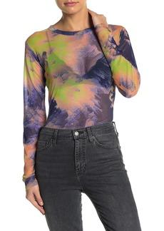 Kendall + Kylie Printed Long Sleeve Mesh Top