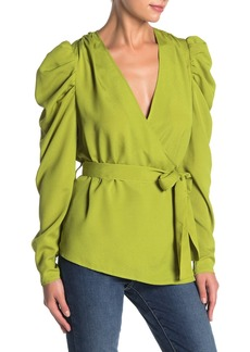Kendall + Kylie Puffed Shoulder Wrap Top