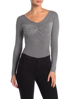Kendall + Kylie Scoop Neck Long Sleeve Rib Knit Bodysuit