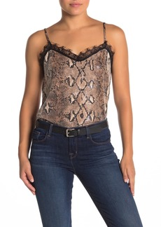 Kendall + Kylie Snake Print Lace Trim Camisole Top
