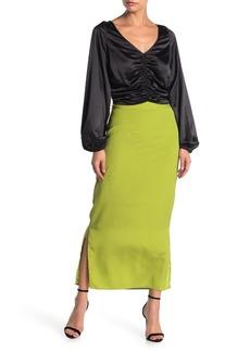 Kendall + Kylie Solid Side Slit Midi Skirt