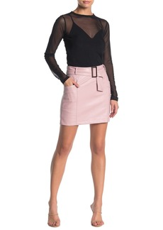 Kendall + Kylie Vegan Faux Leather Belted Mini Skirt