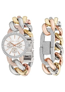 Women's Kendall + Kylie Large Open-Link Crystal Embellished Gold Tone, Silver Tone and Rose Gold Tone Stainless Steel Strap Analog Watch and Bracelet Set 40mm