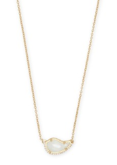Kendra Scott Tansy 14K Gold Plated Over Brass Ivory Mother-of-Pearl CZ Teardrop Pendant Necklace