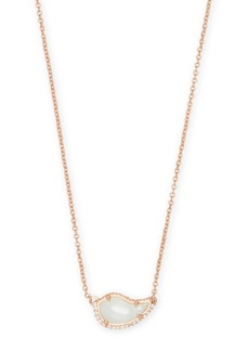 Kendra Scott Tansy 14K Rose Gold Plated Over Brass Ivoy Mother-of-Pearl CZ Teardrop Pendant Necklace