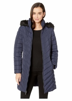 Kenneth Cole 3/4 Chevron Quilted Puffer w/ Faux Fur Hood