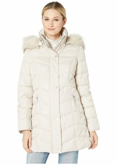 Kenneth Cole 3/4 Chevron Quilted Puffer w/ Faux Fur Trimmed Hood