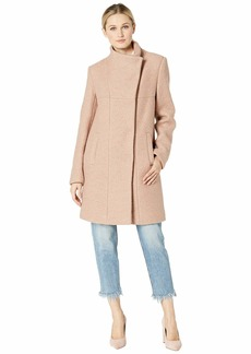 Kenneth Cole Asymmetrical Pressed Boucle Wool Coat