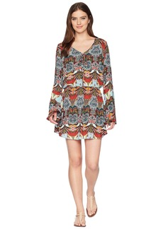 Kenneth Cole Bali Dreams Bell Sleeve Lace-Up Tunic Cover-Up