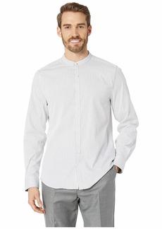 Kenneth Cole Band Collar Stripe Shirt