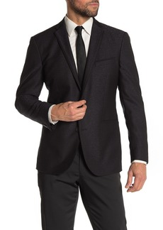Kenneth Cole Black Jacquard Two Button Notch Lapel Performance Stretch Slim Fit Evening Jacket