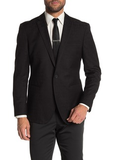 Kenneth Cole Black Tonal Floral Two Button Slim Fit Evening Jacket