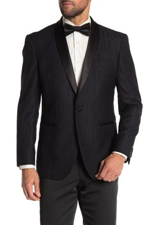 Kenneth Cole Blue Tonal Houndstooth One Button Shawl Lapel Performance Stretch Slim Fit Evening Jacket