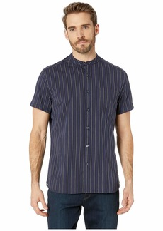 Kenneth Cole Bold Striped Short Sleeve Band Collar Button Down