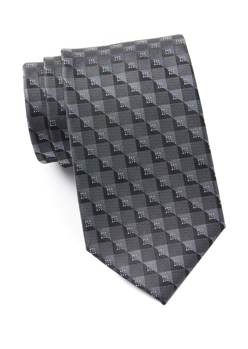 Kenneth Cole Check Geo Silk Blend Tie