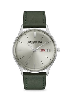 Kenneth Cole Classic Stainless Steel Leather-Strap Watch