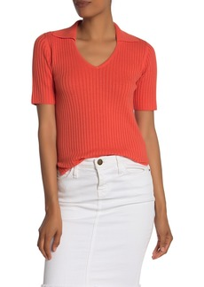 Kenneth Cole Collared Ribbed Knit V-Neck Shirt