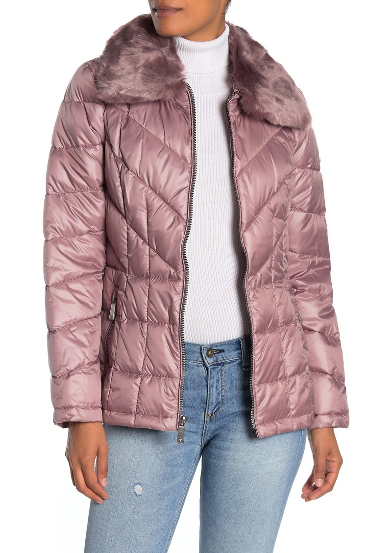 Kenneth Cole Faux Fur Collar Zip Front Puffer Jacket