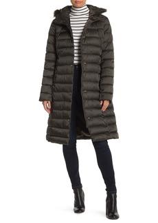 Kenneth Cole Faux Fur Trim Belted Quilted Coat