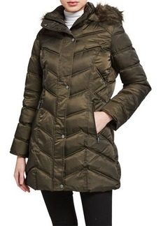 Kenneth Cole Faux-Fur-Trim Chevron Quilted Coat