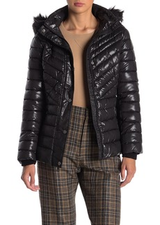 Kenneth Cole Faux Fur Trim Hood Quilted Coat